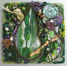 mixed media fiber art by Anne Marie Desaulniers - Serendipity acrylic paint monoprint, free motion machine stitching, various bead and bead embroidery stitches, vintage and found objects