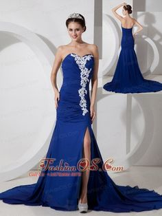 Best Peacock Blue Chiffon Sweetheart Prom Dress with Appliques and Ruch  http://www.fashionos.com  This tight sexy prom dress is sure to please! Ruched bodice, low sweetheart neckline, seductive side slit , form fitting silhouette, delicate applique and elegent train. Close-fitting design of the dress undoubtedly expose your charming and slim figure. Finished off with a a corset back to complete the style this dress is your first choice.