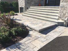 Bordures et trottoirs - Pavé Expert Patrick Marchand Front Entrances, Sidewalk, Entrance Ideas, Patio, Landscape, Gardens, Houses, Road Pavement, Landscape Fabric