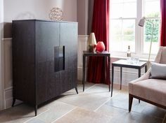 Fitzroy Square Drinks Cabinet in Modern Charcoal Wenge Finish (Sideboards & display cabinet) | image 2