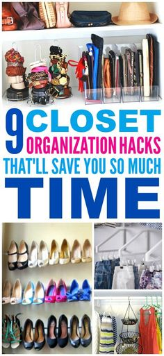 These 9 closet organization hacks are THE BEST! I'm so glad I found these GREAT tips! Now I know how to get more space for my small closet and small apartment! Definitely pinning!