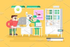 Veterinary clinic visitor and doctor - Illustrations