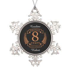 Bronze eighth wedding anniversary 8 years snowflake pewter christmas ornament