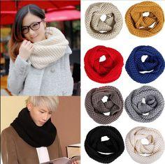 Cheap Nueva llega para mujer para hombre caliente del invierno de punto de ganchillo Infinito mantón de la bufanda de la capucha Cable Círculo Cuello,
