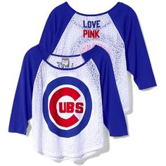 Victoria's Secret Chicago Cubs Oversized Raglan Tee ($17) ❤ liked on Polyvore