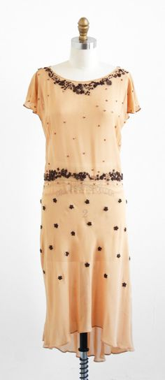 vintage 1920s nude chiffon dress with beading + floral embroidery.