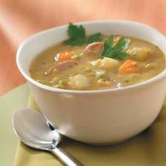 Lose 5 Pounds Every 7 days Just By Eating Delicious Fat Burning Soups.No Exercise. No ridiculous diet rules, dont even change your eating habits! Just replace one or two meals per day with a delicious fat burning soup and start shrinking! Slow Cooker Recipes, Soup Recipes, Cooking Recipes, Healthy Recipes, Slow Cooking, Crockpot Recipes, Easy Recipes, Kielbasa Soup, Sausage Soup