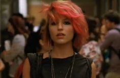 Dianna Agron as Quinn Fabray in Glee  If I could rock pink hair like this, I totally would.