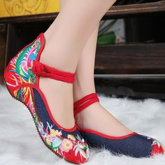 florwe and cloth embroideried soft bottom women's shoe Oxford folk style casual shoe