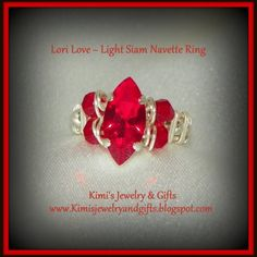 """Ring - """" Lori Love - Light Siam Ring w/full double bead band   Kimis-Jewelry-From-The-Heart - Jewelry on ArtFire"""