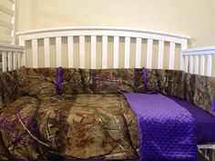 Hey, I found this really awesome Etsy listing at https://www.etsy.com/listing/153119364/realtree-camo-and-purple-minky-3-pc-crib