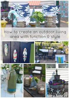 how to create an outdoor space. celebrating outdoor living, how to add function, style, and a casual space to relax. Sharing simple solutions, DIY projects, and storage ideas for toys. To see more click on the post or visit-  http://ourhousenowahome.com/