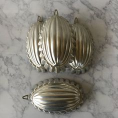 Vintage Aluminum Molds 4 Italy  oval fluted by ShopTheHyphenate