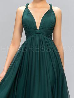 Sexy V-Neck Straps Criss-coss Back A-Line Evening Dress 4