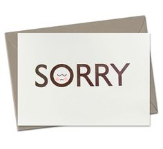 HE'S SORRY - LETTERPRESS CARD (hand finished) / kikisoso