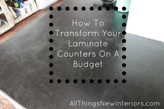 How to transform your laminate counters on a budget- great cement-based product that you stain! Looks like soapstone for so much less!