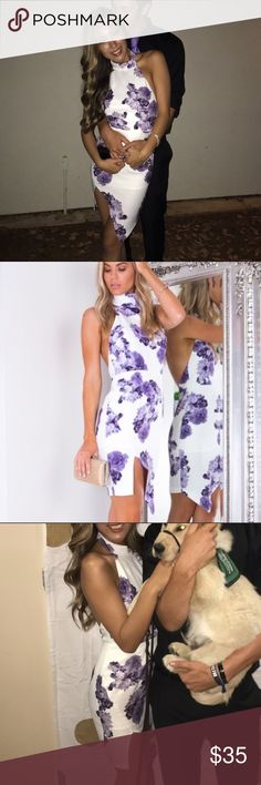 """White dress with purple roses Almost sold for pretty cheap in a bundle so I am listing it again...WORN ONCE, I'm 5""""7, the waist part is a little snug so I wouldn't go higher than a size 3 Sabo Skirt Dresses"""