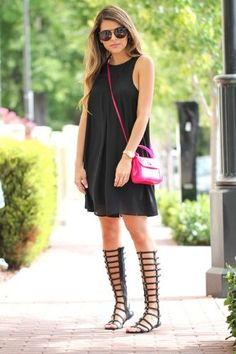 pop of pink with black dress and gladiator sandals