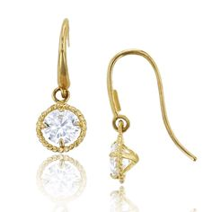 14K Yellow Gold Milgrain 3.75mm Round Cut Halo CZ Dangling Earring. 14K SOLID GOLD: This product is made of solid 14K gold and each piece is carefully trademarked with the metal purity for certification. Each piece is stamped 14K or 585 and that guarantees the quality and craft. DESIGN & FINISH: We understand gold and we really understand the manufacturing process of precious metal. Each piece is carefully designed from scratch by our design department and we present to you our finished...