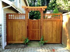 Oriental Arbor gate for the side yard entrances. I also like the random detail… Fence Gate Design, Privacy Fence Designs, Backyard Gates, Backyard Pergola, Pergola Kits, Wooden Garden Gate, Garden Gates, Arbor Gate, Japanese Fence