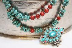 Tibetan Filigree Gemstone Ritual Ghau Box by handmadebyinali, $95.00