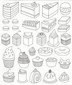 coloring adult cupcakes and little cakes coloring pages printable and coloring book to print for free. Find more coloring pages online for kids and adults of coloring adult cupcakes and little cakes coloring pages to print. Doodle Drawings, Doodle Art, Sweet Drawings, Drawing Lessons, Art Lessons, Adult Coloring Pages, Coloring Books, Free Coloring, Food Coloring Pages
