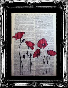 Red Poppies on a vintage dictionary page