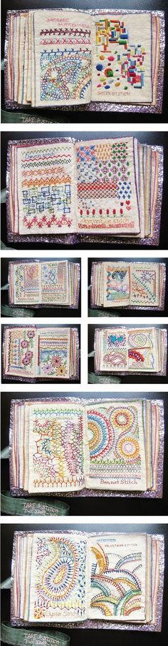 Admiring the embroidered fabric book created by Bangalore-based stitcher, Maya Matthew. Embroidery Sampler, Embroidery Applique, Cross Stitch Embroidery, Embroidery Patterns, Machine Embroidery, Cross Stitch Samplers, Knitting Patterns, Stitch Book, Techniques Couture