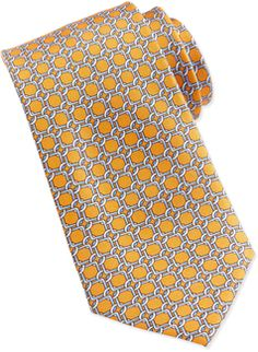 Neiman Marcus Square Link Silk Tie, Orange - 40% off, now $23.4 @ #LastCallByNeimanMarcus  #NeimanMarcus