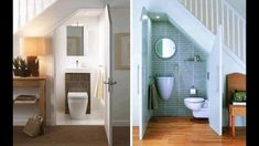 13 inspired bathroom under stairs design on a budget. Bathroom Under Stairs, Basement Bathroom, Bathroom Ideas, Tiny Bathrooms, Beautiful Bathrooms, Small Toilet, Toilet Design, Stair Storage, Bathroom Design Small