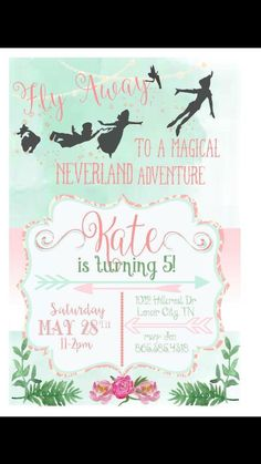 Whimsical Peter Pan and Wendy invitation … Picnic Birthday, Fairy Birthday, Pirate Birthday, 4th Birthday Parties, Pirate Party, 3rd Birthday, Baptism Invitations, Birthday Invitations, Neverland Invitation