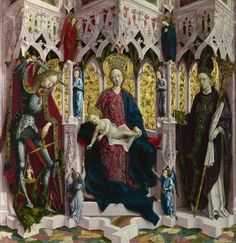 Michael Pacher - Madonna and Child Enthroned with Angels and Saints; National Gallery, London, England; 15th century