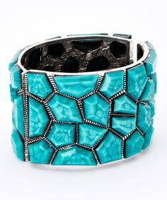 Look what I found on #zulily! Turquoise & Silver Bangle #zulilyfinds