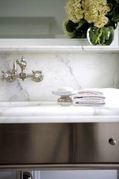 Sage Design: Stunning bathroom vanity with marble slab countertop & backsplash and wall-mount faucet . Dream Bathrooms, Beautiful Bathrooms, Small Bathrooms, Marble Vanity Tops, Marble Shelf, Marble Top, White Marble, Wall Mounted Taps, Bathroom Taps