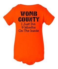 Orange 'Womb County' Bodysuit - Infant by INKtastic #zulily #zulilyfinds