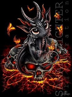 Baby Dragon Tattoos, Dragon Tattoo Drawing, Cute Dragon Drawing, Cute Dragon Tattoo, Fantasy Kunst, Gothic Fantasy Art, Skull Pictures, Dragon Pictures, Skull Artwork