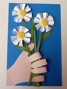"Handmade Flower Cards : use a cut out of the child's hand print to ""hold"" a bouquet of flowers. Sweet for Mom's Day!"