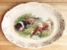 1900s Dairy Cows in Pasture Ironstone Oval Plate Artist R K Beck Vintage | eBay