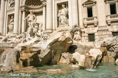 TREVI FOUNTAIN | A view of the Trevi Fountain in Rome, Italy.  It is the largest Baroque fountain in the city and the most stunning in the world.  A traditional legend holds that if visitors throw a coin into the fountain, they are ensured a return to Rome.  #travel #traveling #travelingram #travelphotography #travelmore #traveladdict #travelpics #traveldiary