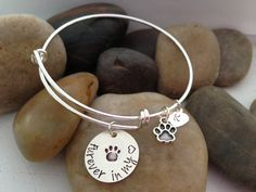 Adjustable Bangles - Pet Memorial Bracelet - Hand Stamped Bracelet Charms - Sympathy Gifts - Memorial GIfts Dog Jewelry, Animal Jewelry, Pet Memorial Gifts, Memorial Ideas, Dog Memorial, Bracelet Charms, Bangle Bracelets, Sympathy Gifts, Pet Loss