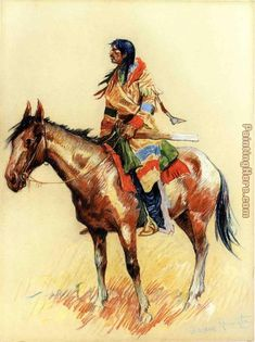 """Frederic Remington -  """"A Northwest Half Breed,"""" painted 1901. I have a print of this painting.  E."""