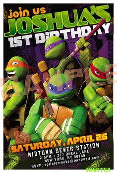 TMNT Birthday Invitation Ninja Turtles