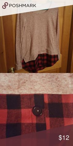 Brand new Super soft fall shirt Pink and red flannel bottom shirt. Super cute, would look awesome with jeans and boots. 87 poly, 9 rayon, 4 spandex. Contrast, cotton Twenty Second Tops Tees - Long Sleeve