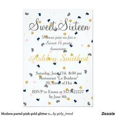 Modern pastel pink gold glitter confetti Sweet 16 5x7 Paper Invitation Card by Girly Trend