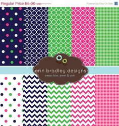 This 10 piece personal & commercial use digital paper set includes navy blue, fuchsia pink and Kelly green chevron stripes, gingham and polka
