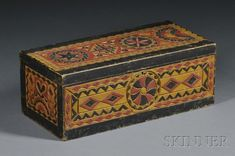 c pine carved box Painted Chest, Painted Boxes, Hand Painted, Primitive Furniture, Primitive Antiques, Antique Furniture, Antique Wooden Boxes, Antique Trunks, Wooden Containers