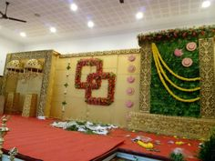 Our work is in progress for puberty function - Health Engagement Stage Decoration, Marriage Decoration, Wedding Stage Decorations, Flower Decorations, Flower Wall Backdrop, Wall Backdrops, Preparing For Marriage, Marriage Preparation, Cradle Decoration