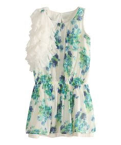 Look at this Green Floral Ruffle Dress - Infant, Toddler & Girls on #zulily today!