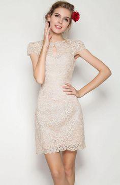 apricot short sleeve scallop lace dress / vestido de novia para boda civil