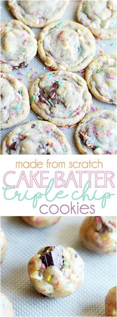 Cake Batter Chocolate Chip Cookies From Scratch: You don't need a mix to make these soft and buttery chocolate chip cookies that taste like a sprinkle-filled piece of cake!